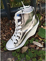 Women's Boots Comfort PU Spring Casual Silver Black White Gold 1in-1 3/4in