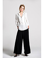 By Megyn Women's Going out Casual/Daily Cute Spring Summer Shirt Pant SuitsSolid V Neck Long Sleeve