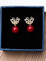 Earrings AAA Cubic Zirconia Animal Design With Red Pearl  Butterfly Jewelry ForWedding Anniversary Birthday Housewarming