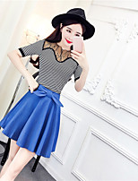 Women's Casual/Daily Party/Cocktail Sexy Cute T-shirt Skirt Suits,Striped Round Neck Half Sleeve Lace Micro-elastic