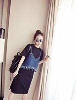 Damen einfarbig Einfach Lässig/Alltäglich T-Shirt-Ärmel Kleid Anzüge Sommer Kurzarm