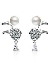 Femme Clips Perle imitée Original Hypoallergique Perle Zircon Platiné Bijoux Pour Soirée Quotidien