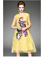 Gaine Robe Femme QuotidienCouleur Pleine Col Arrondi Mi-long Polyester Eté Taille Haute Micro-élastique Fin