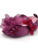 Baby Kids' Loafers & Slip-Ons First Walkers Satin Summer Fall Party & Evening Dress Casual Flower Flat Heel Purple Flat