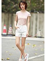 Damen Solide Einfach Alltag Normal T-shirt,Rundhalsausschnitt Kurzarm Modal