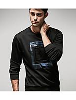 Men's Casual Sweatshirt Print Peaked Lapel Micro-elastic Cotton 3/4 Length Sleeve Spring, Fall, Winter, Summer