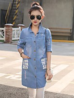 Women's Going out Vintage Simple Spring Fall Denim Jacket,Letter Shirt Collar Half Sleeve Long Others