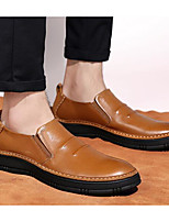 Men's Sneakers Nappa Leather Cowhide Spring Black Light Brown Flat