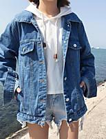 Women's Casual/Daily Simple Fall Winter Denim Jacket,Solid Shirt Collar Long Sleeve Regular Cotton