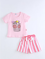 Girls' Striped Print Sets,Cotton Summer Short Sleeve Clothing Set