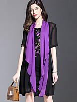 Feminino Solto Vestido,Casual Tamanhos Grandes Moda de Rua Estampa Colorida Bordado Decote Redondo Acima do Joelho Meia MangaRaiom