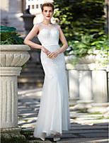 Trompete / Meerjungfrau Hochzeitskleid - Elegant & Luxuriös Glanz & Glamour Boden-Länge Schmuck Tüll mitPerlstickerei Schärpe / Band