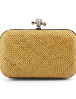 Women Clutch Straw Spring/Fall All Seasons Event/Party Casual Stage Formal Party & Evening Club Square Clasp Lock Gold