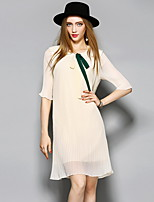 ANGEL Women's Casual/Daily Simple Sheath DressSolid Round Neck Above Knee Short Sleeve Polyester Summer High Rise Micro-elastic Thin
