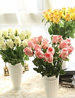 19inch Length 10 Heads Silk Roses Tabletop Flower Artificial Flowers