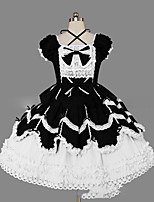 One-Piece/Dress Gothic Lolita Lolita Cosplay Lolita Dress Vintage Cap Short Sleeve Short / Mini Dress For