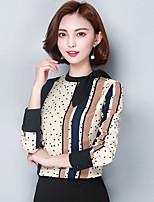 Feminino Blusa Para Noite Trabalho Simples Sofisticado Todas as Estações,Estampa Colorida Raiom Colarinho Chinês Manga Longa