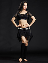Belly Dance Outfits Women's Training Lace Laces Sequin 3 Pieces Short Sleeve Dropped Skirts Tops Belt