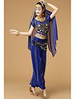 Danza del Vientre Accesorios Mujer Seda Diseño de mariposa 2 Piezas Mangas cortas Cintura Alta