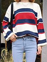 Women's Going out Casual/Daily Simple Regular Cardigan,Solid Striped Round Neck Long Sleeve Cotton Polyester Spring Fall Medium