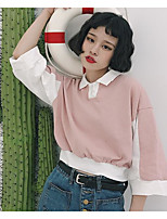 Trench Femme,Couleur Pleine Quotidien Contemporain Printemps Eté Manches longues Col de Chemise Normal Autres