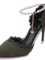 Women's Sandals Cashmere Summer Walking Pearl Stiletto Heel Black Yellow Green 3in-3 3/4in