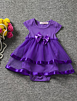 Baby Bowknot One-Pieces,100%Cotton Polyester Taffeta All Seasons Short Sleeve