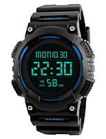 Hombre Reloj Deportivo Reloj de Pulsera Reloj digital Chino Digital LCD Calendario Resistente al Agua Dos Husos Horarios alarma Cronómetro