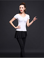 Latin Dance Women's Training Milk Fiber 2 Pieces Short Sleeve High Tops Pants