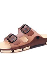 Men's Slippers & Flip-Flops Slingback PVC Summer Casual Flat Heel Blue Brown Fuchsia 1in-1 3/4in