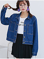Women's Going out Cute Spring Fall Denim Jacket,Solid Stand Long Sleeve Short Cotton