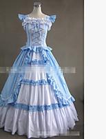Une Pièce/Robes Gothique Rétro Lacets Cosplay Vêtrements Lolita Blanc Bleu Couleur unie Ras du Sol Jupe Pour Tissu Matelassé