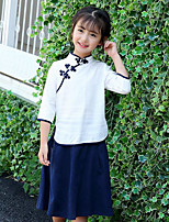 Girls' Patchwork Sets,Cotton Summer Spring Fall 3/4-Length Sleeve Clothing Set