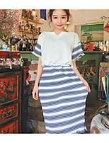 Women's Other Daily Others Summer T-shirt Skirt Suits,Striped V Neck Short Sleeve