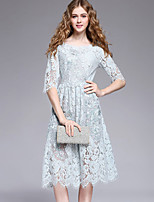 YHSPWomen's Going out Beach Holiday Simple Cute Sophisticated A Line Sheath Lace DressSolid Embroidered Round Neck Midi  Length Sleeve