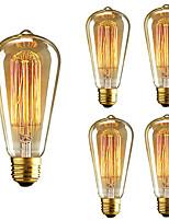 5pcs st64 e27 40w incandescent vintage edison ampoule pour restaurant club café bars lumière ac110-130v