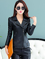 Women's Casual/Daily Simple Spring Leather Jacket,Solid Shirt Collar Long Sleeve Short