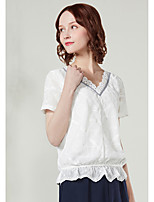 Tee-shirt Femme,Couleur Pleine Imprimé Décontracté / Quotidien simple Manches Courtes Col en V Coton