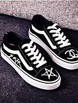 Для женщин Мокасины и Свитер Удобная обувь Полотно Весна Лето Повседневные Удобная обувь Черный Красный На плоской подошве