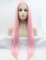 2017 Sylvia Synthetic Lace Front Wig Rose Pink Natural Wave Heat Resistant Synthetic Wigs