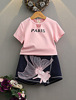 Girls' Print Sets,Cotton Polyester Summer Spring Short Sleeve Clothing Set