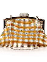 Women Evening Bag Polyester All Seasons Wedding Event/Party Formal Party & Evening Club Minaudiere Rhinestone Sequined Clasp LockSilver