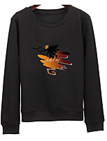 Men's Casual/Daily Sweatshirt Print Round Neck Micro-elastic Cotton Long Sleeve Summer