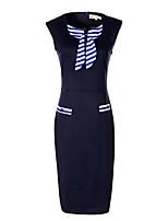 Gaine Robe Femme Sophistiqué,Couleur Pleine Col Arrondi Mi-long Sans Manches Polyester Automne Taille Normale Micro-élastique Moyen