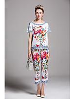 Chemise Pantalon Costumes Femme,Imprimé Sortie Décontracté / Quotidien Mignon Chinoiserie Printemps Eté Manches Courtes Col Arrondi