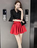 Для женщин На каждый день Лето Рубашка Юбки Костюмы V-образный,просто Однотонный Длинный рукав Слабоэластичная