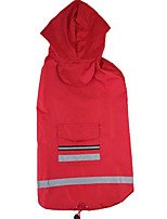 Cat Dog Rain Coat Dog Clothes Casual/Daily Waterproof Solid Blue Ruby