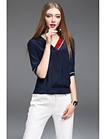 Damen Solide Boho Lässig/Alltäglich T-shirt,V-Ausschnitt Kurzarm Seide