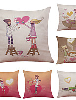 Set of 6 Creative Couple Pattern Linen Pillowcase Sofa Home Decor Cushion Cover  Throw Pillow Case (18*18inch)