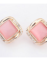 Euramerican Delicate Elegant Opal Rhinestone Square Women's  Daily  Stud Earrings Movie Jewelry